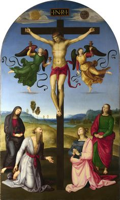 """RAPHAEL , 1483 - 1520 """"The Crucified Christ with the Virgin Mary, Saints and Angels (The Mond Crucifixion)"""" Date: about 1502-3 Medium: Oil on poplar Dimensions: 283.3 x 167.3 cm One of Raphael's earliest works, greatly influenced by Perugino, this served as the altarpiece of the side chapel in S. Domenico in Città di Castello, the stone frame of which is dated 1503.  The National Gallery."""