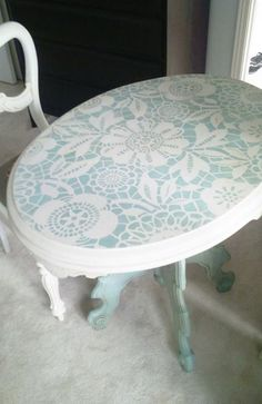 Our most popular lace stencils, Skylar's Lace Floral Stencil, was featured in the Spring 2011 issue of Better Home's & Garden's Do It Yourself Magazine! This stencil comes in 2 parts. Painted Chairs, Hand Painted Furniture, Repurposed Furniture, Painted Tables, Stencil Table Top, Stenciled Table, Furniture Projects, Furniture Makeover, Diy Furniture