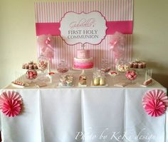 Girl's Pink and White First Holy Communion Party Table