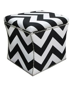 Take a look at this Black & White Zigzag Nail-Button Storage Ottoman by Skyline Furniture on #zulily today!