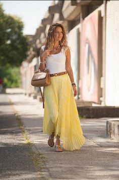white top, long yellow skirt @roressclothes closet ideas #women fashion outfit #clothing style apparel