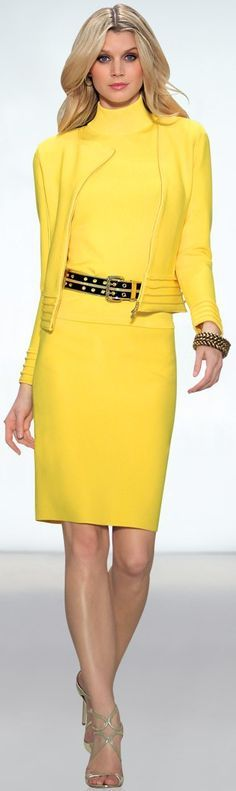 yellow dress, jacket. @roressclothes closet ideas women fashion outfit clothing style