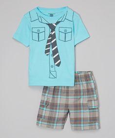 Another great find on #zulily! Blue Necktie Tee & Plaid Shorts - Toddler by Kids Headquarters #zulilyfinds