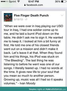 Five Finger Death Punch. This leaves a million things unsaid.