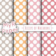 """With Love By MyRpaper #patterns #design #graphic #paperdesign #papercraft #scrapbooking #digitalpapers Polka Dots Digital Paper: """"Recipe of Macarons"""" Digital Paper Pack & Backgrounds with Polka Dots in Pink, Fuchsia, Taupe, Orange  HELLO AND WELCOME TO MY SHOP  These digital..."""