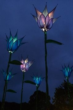 Illuminated tulip garden structures — gorgeous inspiration for a flower tattoo idea w/ Tink Stained Glass Lamps, Stained Glass Projects, Stained Glass Patterns, Mosaic Glass, Fused Glass, Stained Glass Tattoo, Stained Glass Flowers, Blue Tulips, Tulips Flowers