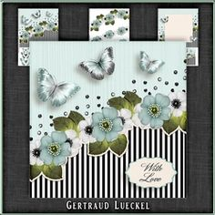 Vintage stripes flowers and butterflies blue black white 1097 on Craftsuprint - View Now!