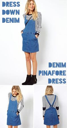 c8f4e75d29 Try the pinafore dress with this perfect-for-the-weekend ASOS denim  pinafore dress.