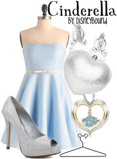 Cinderella style! So pretty!!   Created by ~ DisneyBound ~ The  most creative & talented group of  stylists/artists, I've found on Polyvore & Tumblr. In my humble opinion ;-)   http://disneybound.tumblr.com/