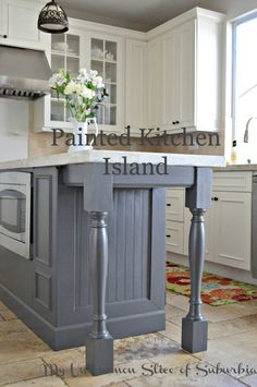 Painted Kitchen Island, the perfect warm grey!
