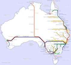 Rail map of Australia