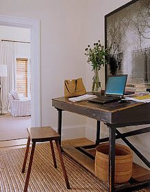 A sisal rug lightens this natural work environment, while the slanted, antique desk allows for a lean-into-with-your-elbows kind of comfort. | Brabourne Farm