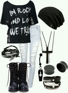 White holed pants, punk rock shirt, cross necklace, black beanie, gauges, boots, bracelets, cross belly button and piercing. <3