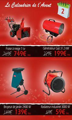 Les prix exceptionnels du 2 décembre sur Euro-Expos.net ! Fraise à neige, broyeur de végétaux, chauffage à gaz, et chauffage électrique ! http://www.euro-expos.net/operation/calendrier-avent-2014-4.html