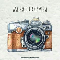 Watercolor camera in retro style Free Vector Camera Drawing, Camera Art, Camera Painting, Kamera Tattoos, Cute Camera, Estilo Retro, Polychromos, Illustrations And Posters, Painting & Drawing