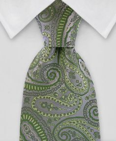"Product number: PA-5134 Length: REG - 59"" Width: 3.75"" Material: 100% Silk Care: Dry Clean Only Label: GENTLEMAN JOE A beautiful, green and silver, silk tie that will take any gentleman to the next st"