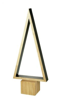 TREE Triangle Wood and Black For a contemporary look this Christmas, this is the ideal Christmas Tree for those that don't like traditional. A stylish statement piece...and you don't have any needles to hoover up on Boxing Day! Tall wooden construction with a black edge and interior.