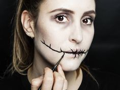Halloween how-to: Stitched mouth makeup