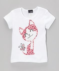 Take a look at this White Rhinestone Kitty Short-Sleeve Tee - Toddler & Girls by A Wish on #zulily today!