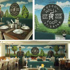 """Роспись и оформление стены в ресторане """"Holly Food by Bryan"""". По мотивам известного художника Рене Магритт."""