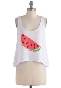 A Snack for Style Top - Short, White, Green, Pink, Black, Casual, Tank top (2 thick straps), Fruits, 80s