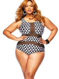 80cd598cfb8 The Plus Size Mesh Insert Trigon Print Teddy Swimsuit is refined