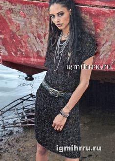 Темно-серое ажурное платье без рукавов. Вязание спицами