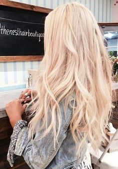 beautiful hair. light denim jacket.