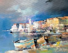 Branko Dimitrijevic, Boats at Night, Oil on canvas, 20x30cm