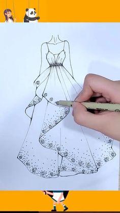 Fashion Drawing Tutorial, Fashion Illustration Tutorial, Fashion Figure Drawing, Fashion Model Drawing, Fashion Drawing Dresses, Fashion Illustration Dresses, Dress Design Drawing, Dress Design Sketches, Fashion Design Sketchbook