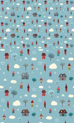 Winter Houses (seamless pattern). Patterns. $7.00