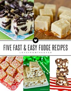 Five Fast And Easy Fudge Recipes that are perfect for Christmas!  Cookies and cream, salted caramel, maple, s'mores and peppermint!