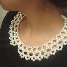 [他のスタイルのブレスレットが準備されています]http://www.creema.jp/c/komorebi/selling/type/onsale/gid/65パールネックレス,結婚式,パーティー,編み込み,付け襟,付け襟チョーカシルキーした真珠を使用したのに光を受けると、自然な光沢が美しいです。ネックレス後の部分は余分の輪があります。 -> 5.5cmパールのサイズ :0.7cm,0.5cm mix