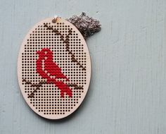 Hand embroidery necklace modern cross stitch jewelry red bird necklace for women wooden pendant nature jewelry handmade – Chickadee Necklace Chickadee Necklace by neawear on Etsy - My Accessories World Small Cross Stitch, Cross Stitch Bird, Cross Stitch Animals, Modern Cross Stitch, Cross Stitching, Cross Stitch Embroidery, Hand Embroidery, Cross Stitch Patterns, Sgraffito