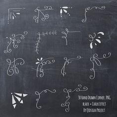30 handgezeichnete Ecke Clipart Kreide und von qidsignproject