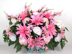 XL Beautiful Pink Cemetery Tombstone Saddle Arrangement