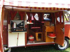 VW Funfest Custom Camper Restore by theclassicbeetle. This is classic! Vw Kombi Van, Kombi Home, Vw T1, Volkswagen Bus, T1 Bus, Bus Camper, Kombi Trailer, Vintage Motorhome, Vintage Trailers