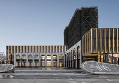 Metropolis Light Exhibition Center / PTArchitects Completed in 2019 in Jinhua China. Images by Jianghe Zeng. As a demonstration area of GemdaleMetropolis Light the project is located in the northwest corner of the plot. In the earlier stage it will. Islamic Architecture, Facade Architecture, Building Facade, Building Design, Master Thesis, Retail Facade, Facade Lighting, Modern Architects, Facade Design