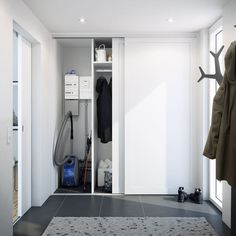 Inspiration til dit nye bryggers Laundry Room Design, Room Closet, Home Reno, Sliding Doors, Entryway, Sweet Home, New Homes, Ikea, Cabinet