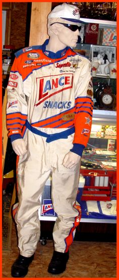 """Folks, this is Jethro! My favorite mannequin, wearing a stylish late 90's """"Lance"""", Simpson fire retardant racing suit."""