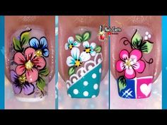 3 Decoraciones de uñas con flores para practicar/Diseño de uñas flores para principiantes/uñas flor - YouTube Flower Nail Designs, Toe Nail Designs, Floral Nail Art, Flower Nails, Manicure And Pedicure, Spring Nails, Toe Nails, Projects To Try, Nail Polish