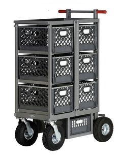 """Studio Six Crate Vertical Model SCV-101 $1195.00  • (6) Locking Milk Crate Compartments • Top Pan (L28.25"""" x W17.75"""" x H1.50"""") Holds (2) Milk Crates • Jockey Box Holds (1) Half Milk Crate • 2-slot Baby/Combo Stand Bracket • (2) Locking Bars • Safety Push Handle • Hand Brake • Wheels (2) 10"""" Rigid and (2) 10"""" Swivel Pneumatics  • Optional (4) Foam Filled Wheels $160.00  L38.25"""" x W26.50"""" x H56"""" 133 lbs. Garage Tools, Garage Workshop, Train Routier, Garden Tool Storage, Garage Storage, Milk Crate Furniture, Hot Dog Cart, Portable Bar, 3d Modelle"""