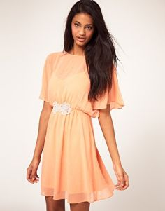 Asos apricot chiffon dress with embellished waist. Regular price $72.72, clearance price $32.72.