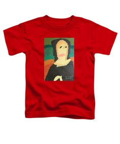 Patrick Francis Red Designer Toddler T-Shirt featuring the painting Mona Lisa 2014 - After Leonardo Da Vinci by Patrick Francis