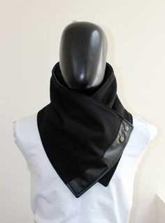 Men scarf. Men cowl,Wide, Black wool with faux black leather and metalic snaps . Trendy, modern, chunky  and cozy.