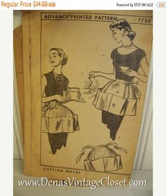 fed3b42341370 60% Off Easter Sale 1956 Vintage Apron Sewing Pattern Advance 7750 Half  Apron Printed Patterns