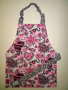 Reversible apron Leopard print apron Child apron by EverSewSweet ON ETSY.