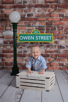 Cake Smash Photo Session Inspiration First Birthday Sesame Street Milestone Brick Wall White Floorboards Crate Lamp Post Sign Studio Lifestyle Location Kirra Photography