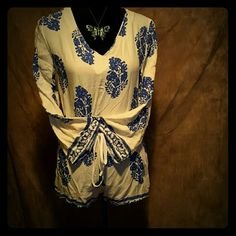 NEW SUMMERY CREAM AND BLUE ROMPER! Cream and Blue Summer Romper (Very light Summer Material) Other