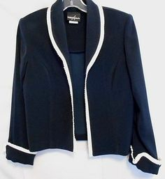 Positive Attitude Jacket Navy with White Pleated Trim Size 6 Poly Long S.